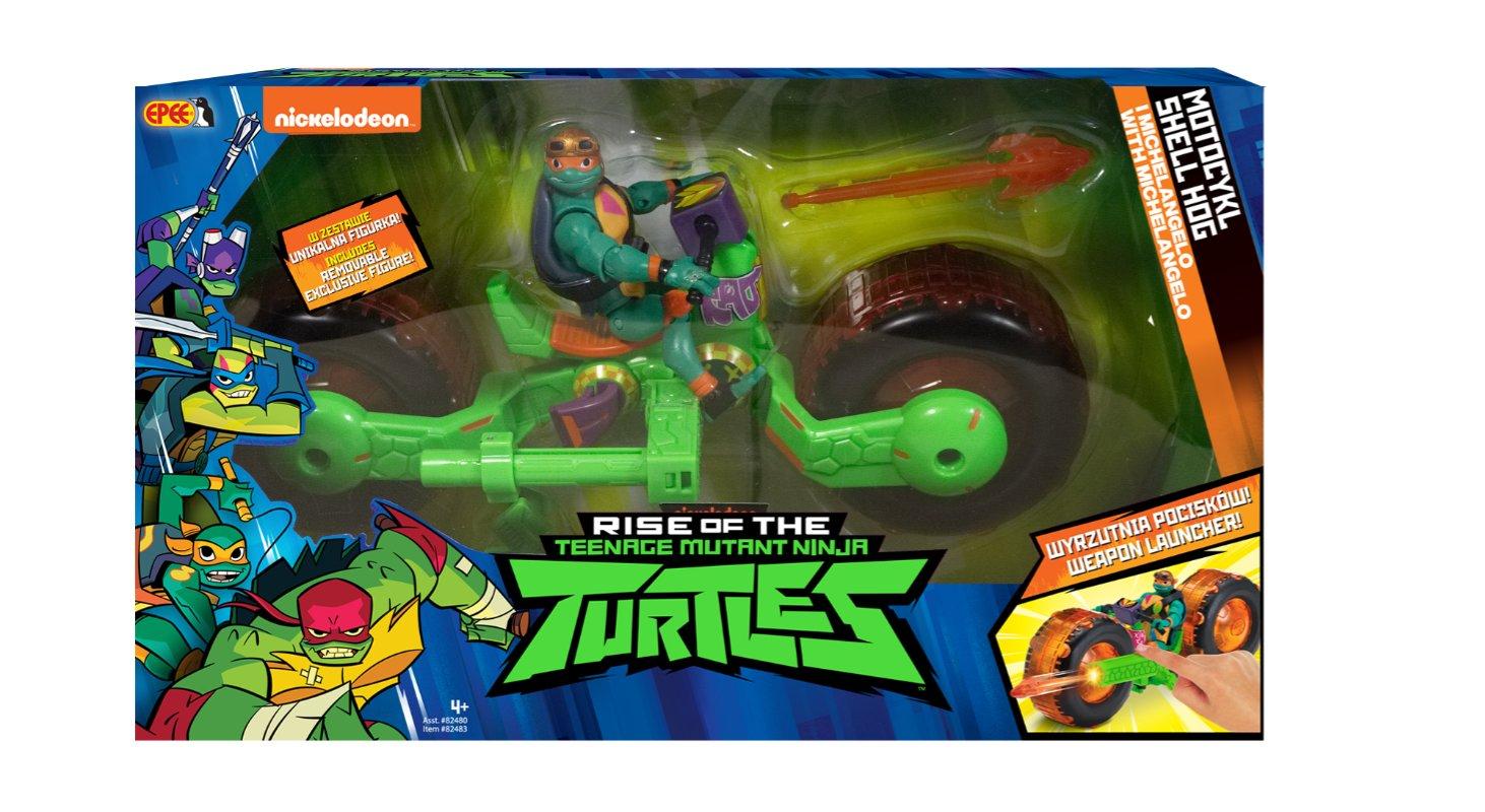 Wojownicze Żółwie Ninja: Ewolucja – Motocykl z figurką, 2 ass. - wojownicze-zolwie-ninja-motocykl-z-figurka-opakowanie-michelangelo