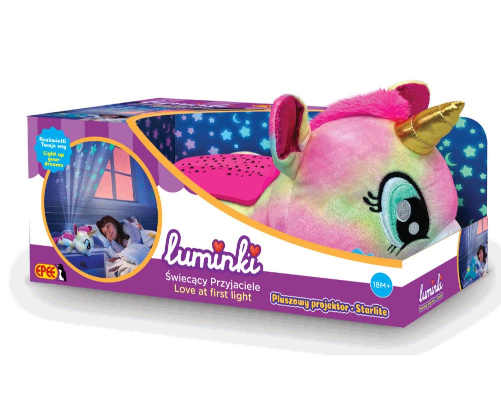 Luminki-Świecący Przyjaciele-Pluszowy projektor 25 cm, 2 ass. - luminki-pluszowy-projektor-jednorozec-opakowanie-ep04133