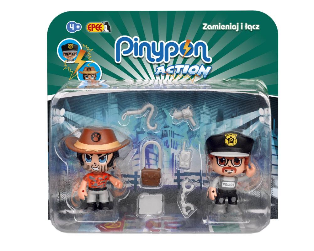 Pinypon Action – 2-pack figurek 7 cm, 2 ass. - pinypon-action-2pack-podroznik-policjant-opak-fpp16056
