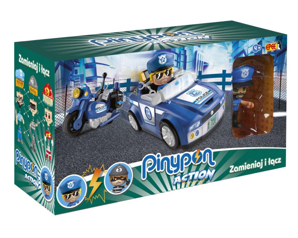 Pinypon Action – Pojazd z figurką 7 cm i akcesoriami, 2 ass. - pinypon-action-zestaw-pojazdow-policja-opak-fpp16057