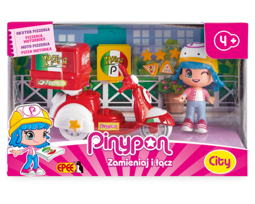 Pinypon City – Skuter z laleczką 8 cm i akcesoriami - pinypon-city-skuter-pizzeria-opak-fpp14911